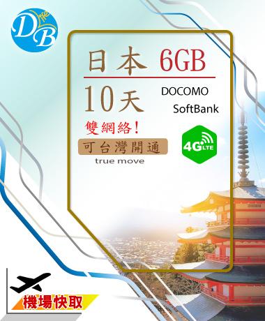 日本10天 6GB上網 雙網絡 DOCOMO SOFTBAK _4